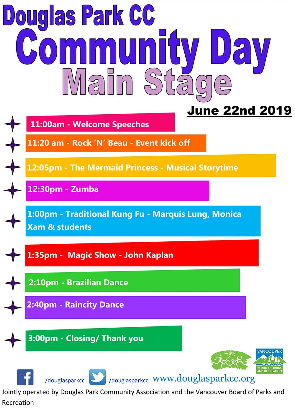Community Day Performanc Schedule11:00am -Welcome Speeches 11:20 am -Rock 'N' Beau -Event kick off 12:05pm -The Mermaid Princess -Musical Storytime 12:30pm -Zumba 1:00pm -Traditional Kung Fu and Lion Dance-Marquis Lung, Monica Xam & students 1:35pm -Magic Show -John Kaplan 2:10pm -Brazilian Dance 2:40pm -Rain City Dance 3:00pm -Closing/ Thank you