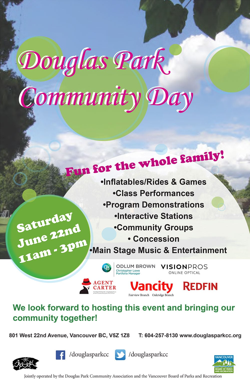 It's time for Douglas Park's annual Community Day! From 11am - 3pm on June 22nd, we'll have an abundance of family-friendly activities at the Community Centre, rain or shine. Festivities will include stage performances, inflatables, carnival games, concession, community booths and much more.